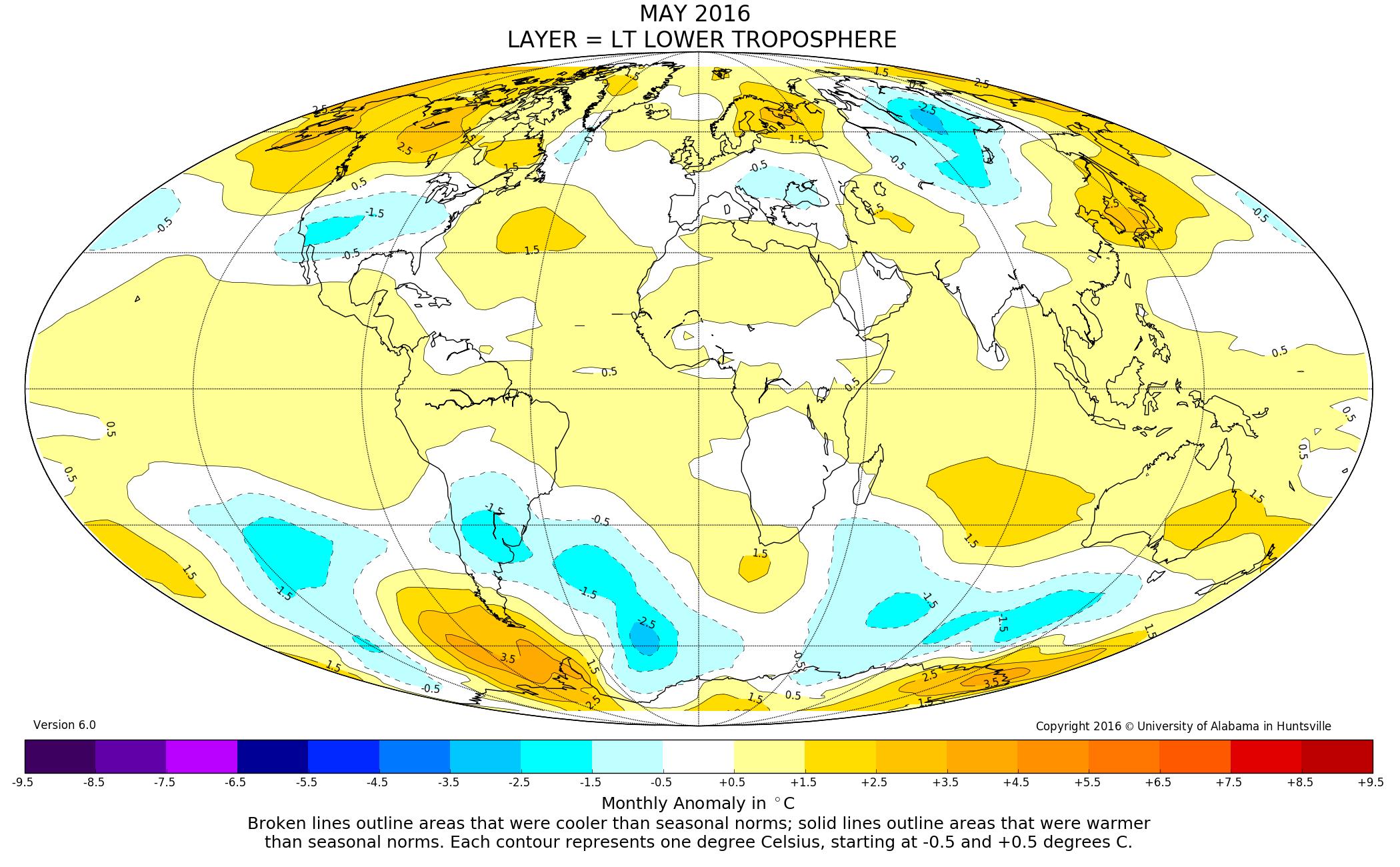 Global Temperature Report UAHuntsville – Earth Temperature Map